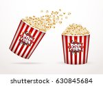 Set Of Popcorn  Isolated On...