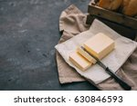 pat of fresh farm butter  with... | Shutterstock . vector #630846593