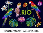 set of stylized embroidered... | Shutterstock .eps vector #630846686