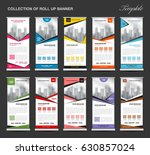 collection of colorful roll up... | Shutterstock .eps vector #630857024