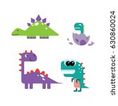 set of funny cartoon dinosaurs | Shutterstock .eps vector #630860024