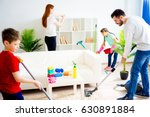 family cleaning house | Shutterstock . vector #630891884