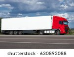 truck on road with white blank... | Shutterstock . vector #630892088