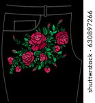 ethnic embroidery red rose... | Shutterstock . vector #630897266