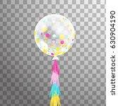 white 3d transparent balloon... | Shutterstock .eps vector #630904190
