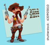 cool sheriff cowboy with... | Shutterstock .eps vector #630905810