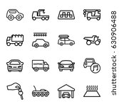 automobile icons set. set of 16 ... | Shutterstock .eps vector #630906488