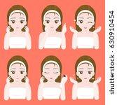 cute pretty girl apply eye... | Shutterstock .eps vector #630910454