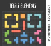 tetris pieces with black... | Shutterstock .eps vector #630916874