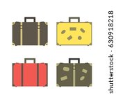 four retro suitcases for travel ... | Shutterstock .eps vector #630918218