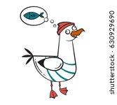 funny cartoon seagull  dreaming. | Shutterstock .eps vector #630929690