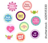 happy wedding label sticker | Shutterstock .eps vector #630935330