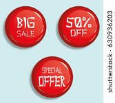 set of glossy sale buttons or... | Shutterstock .eps vector #630936203