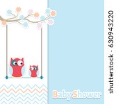 card baby shower with cute... | Shutterstock .eps vector #630943220