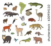 animals of south america vector ... | Shutterstock .eps vector #630954110