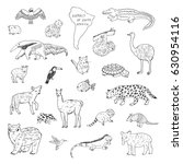 animals of south america vector ... | Shutterstock .eps vector #630954116