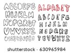 doodle latin alphabet. hand... | Shutterstock .eps vector #630965984