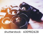 professional camera lenses on a ...   Shutterstock . vector #630982628