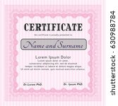 Pink Diploma Template. Retro...