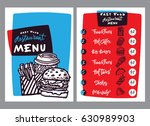 fast food menu design and food... | Shutterstock .eps vector #630989903