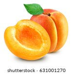 Apricot With Leaf Isolated On...