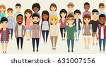 the young people gathered in a... | Shutterstock .eps vector #631007156