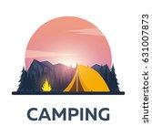 summer camp. evening camp  pine ... | Shutterstock .eps vector #631007873