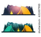 summer camp. evening camp  pine ... | Shutterstock .eps vector #631007900