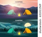 summer camp. evening camp  pine ... | Shutterstock .eps vector #631011569