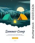 summer camp. night camping.... | Shutterstock .eps vector #631011626