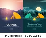 summer camp. evening camp  pine ... | Shutterstock .eps vector #631011653
