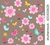 spring flowers seamless pattern ... | Shutterstock .eps vector #631023620