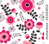 spring flowers seamless pattern ... | Shutterstock .eps vector #631024010