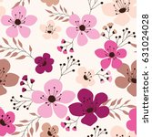 spring flowers seamless pattern ... | Shutterstock .eps vector #631024028
