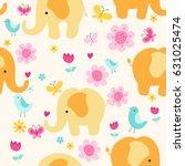 colorful elephants   flowers ... | Shutterstock .eps vector #631025474