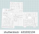 standard furniture symbols used ... | Shutterstock .eps vector #631032134