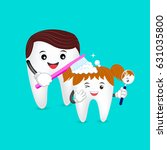cute cartoon tooth family. dad... | Shutterstock .eps vector #631035800