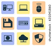 laptop icons set. collection of ... | Shutterstock .eps vector #631041860