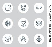 animal icons set. collection of ... | Shutterstock .eps vector #631043390