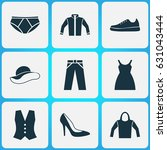 clothes icons set. collection... | Shutterstock .eps vector #631043444
