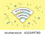 vintage ribbon wi fi sign for... | Shutterstock .eps vector #631049780