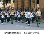 Small photo of BRISBANE, AUSTRALIA - APRIL 25, 2017: Soldiers with bagpipes march at the ANZAC parade.