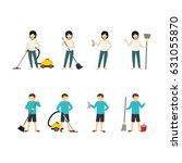 housekeeper character design... | Shutterstock .eps vector #631055870