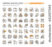 shipping and delivery icons  ... | Shutterstock .eps vector #631057043
