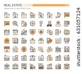 real estate icons   thin line... | Shutterstock .eps vector #631057124