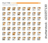 file type icons   thin line and ... | Shutterstock .eps vector #631057130