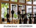 bottles for syrup in coffee...   Shutterstock . vector #631058834