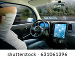 cockpit of autonomous car. a... | Shutterstock . vector #631061396