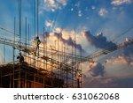 construction worker on... | Shutterstock . vector #631062068