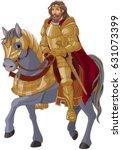 medieval king horseback in full ... | Shutterstock .eps vector #631073399